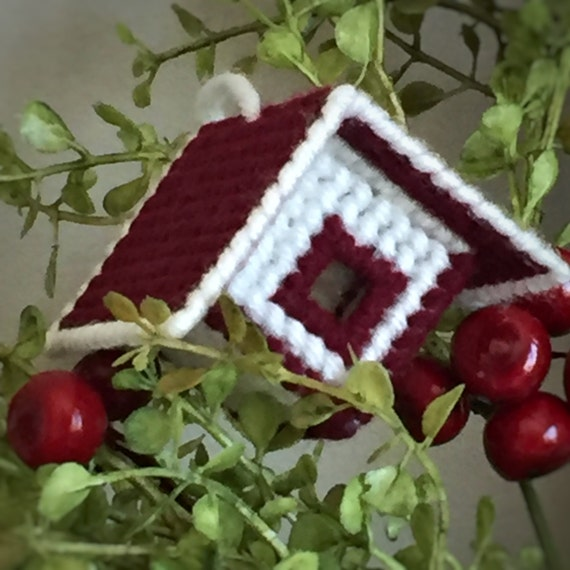 Birdhouse Ornament/Handmade Christmas/Burgundy and Cream Christmas Tree/Country Christmas/ Grandmas House/Plastic Canvas/Yarn