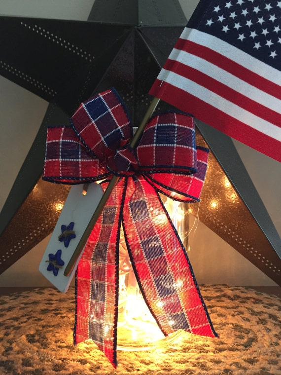 Red White and Blue/4th of July Decor/USA Pride/Military Wedding/American Flag/Military Gift/Patriotic Decor/Plaid Bow/Mason Jar Light/Button