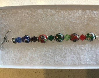 Swarovski and multi color Primary Color Bracelet