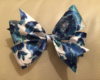 Blue and White Flowered Hair Bow