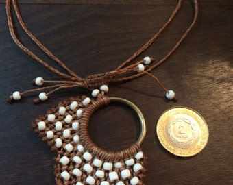 """Leaf"" Macrame necklaces."