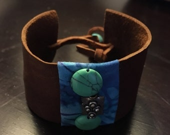 Leather Cuff Bracelet with Batik and Turquoise