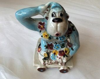 """Vintage Ceramic """"Monkey on a Cart"""" Planter-Made by F Thurston Sanders"""