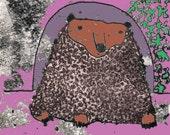 Brown bear print, limited edition, digital print from original illustration, bear picture, cuddly bear, hairy bear, bear drawing, wild bear