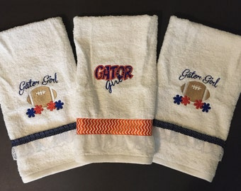 Florida Gators, Hand Towels, Gator Girl, Hand Towels, Embroidered, Personalized, Football, Handmade