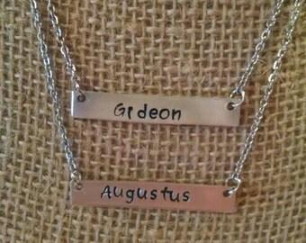 Double bar aluminum name necklace--customizable