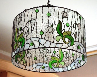 "Stained glass chandelier, stained glass hanging lamp ""Snowdrops"""