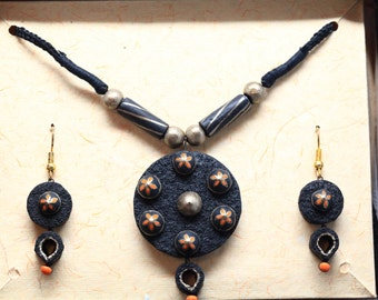 Black and Gold Textured Necklace with Orange flowers