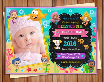 Bubble Guppies party photo invitation for Girl, Bubble Guppies digital chalkboard invitation, thank you card free! print it yourself!