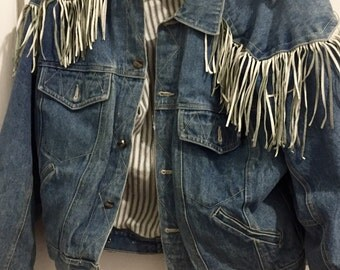 Vintage Fringe Denim Jacket