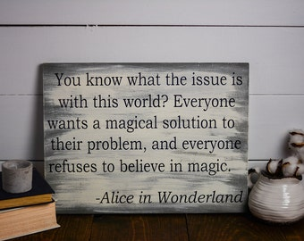 Alice in Wonderland, Distressed wooden sign, Alice in Wonderland Decor, Book Nerd, Rustic wooden Sign, Nerd Art