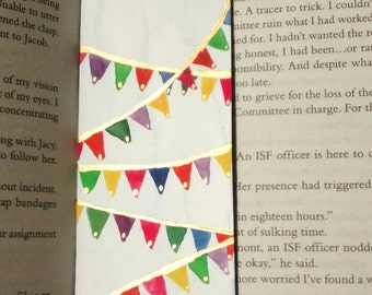 Handmade retro bunting bookmark