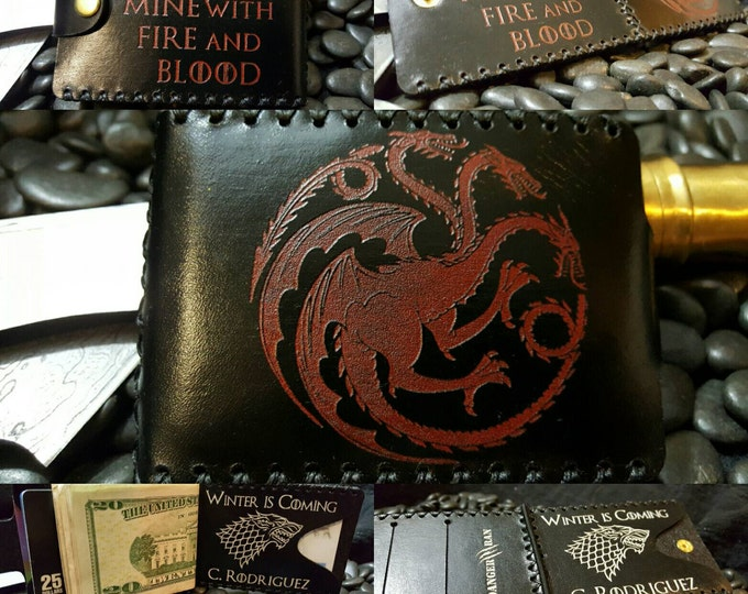 Premium  Black and Red Targaryen and Black and White Stark Wallet