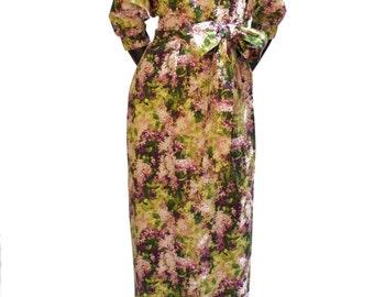 Floral Print Full Length Dress (with belt) - 16-012