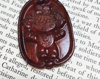 Hand-Carved Chinese Deity Jade Pendant  - 1 Piece - #740
