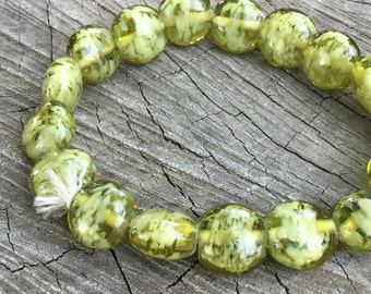 Olive Green Glass artisan made Coin Beads - 30 Pieces - #193