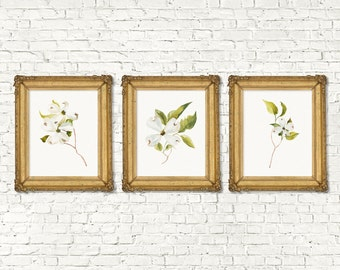 Instant Download Printable Floral Home Decor Print Set of 3 | Boho Garden Watercolor Home Decor Nursery | Rustic White Floral Printable