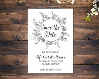Floral Save The Date, 100% Recycled, Save The Date Cards, Personalized, Green Wedding, Wedding Invitations, Eco Wedding x 20