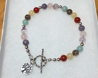 Gemstone and sterling silver bracelet