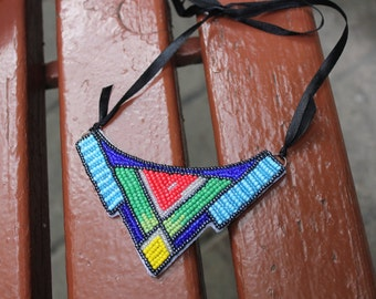 Bead embroidery jewelry, handmade beaded necklace  with geometrical pattern