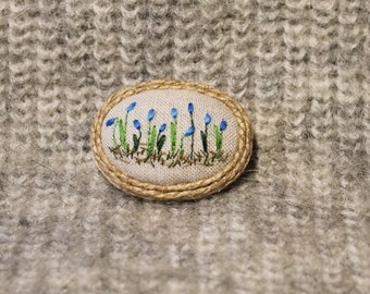 Hand emdroidery brooch with flower print, embroidered brooch