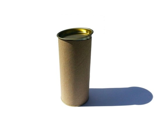 Lot of brown paper tube with gold aluminum cap and base