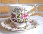Vintage Royal Standard Fine Bone China Tea Cup and Saucer Set in the Mandarin pattern