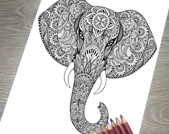 printable coloring page jpg adult colouring page instant download only art printable illustrations magic totem elephant - Coloring Page Elephant Design