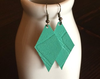Leather Earrings -- Green Crocodile