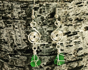 Emerald sea glass swirl earrings