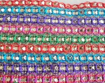 Multicolored Sequin Ribbon Trim Handmade Beaded Lace Apparel Sari Border Lace India 3 Yard RT230