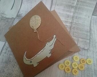 Celebration card, Congratulations Card, Birthday Card, Cute card, Contemporary Greetings Card, Illustrated card, Crocodile Card