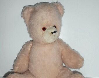 "Bright, rose, pink teddy bear, 60s bear, 21"",  vintage bear"
