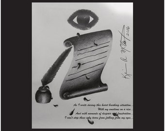 Printed Poster Art of an Abstract Drawing of Tears Coming onto a Scroll as Ink, 16 X 20