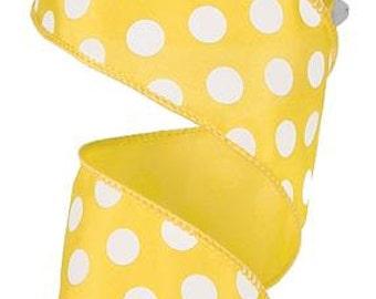 "2.5""X10yd Large Polka Dot  Yellow/White"