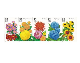 20 Fall Garden Flowers Postage Stamps -  32c - Unused Postage Stamps - Quantity of 20 - Aster, Chrysanthemum, Dahlia, Hydrangea, Rudbeckia