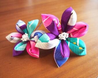 Thumb crafted Yuri pins set antique silk gauze