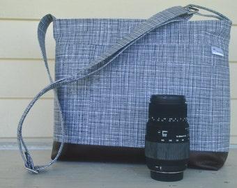 DSLR padded camera bag black, cross body strap, photography, wedding photography, travel camera bag,camera built in insert