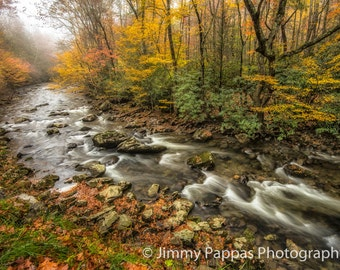 Fall & Fog on the Little River (#2)   Smoky Mountains  Fine Art Print Jimmy Pappas