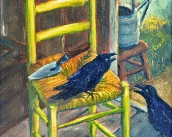 Van Gogh's chair, Gardens, Crows and a Chair, Garden paintings, Impressionistic paintings, Gardens, on a beautiful CANVAS PRINT