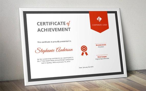 Superb Corporate Ribbon Certificate Template For MS Word (docx) And Corporate Certificate Template