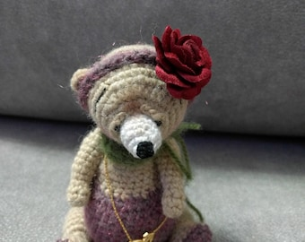 Ooak artist miniature thread bear Doll lucky bear Crochet dollhouse miniature