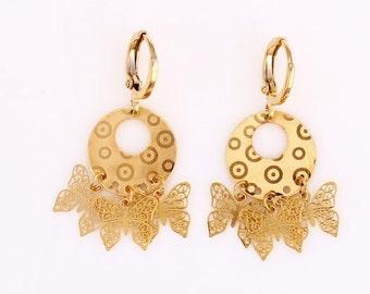 Butterfly earrings, dangle earrings, golden earrings (155)
