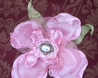 Pink Fabric Flower Pin Hairpiece with Pearl Button Centerpiece