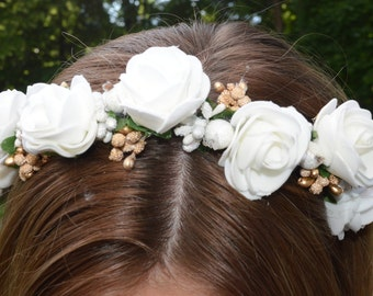 Hair band with flowers,white hair band flower, Flower hair band, Flower crown, Flower wreath, Hair crown, wedding hair band, bridal hairband