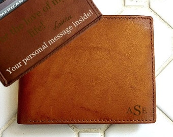 Leather wallet mens • personalized leather wallet • custom leather wallet • genuine leather wallet • monogram wallet • A.Saddle* 7751