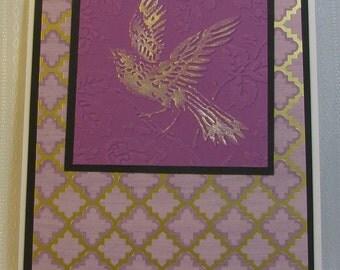 Embossed Bird in Pink