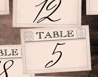 Vintage Telegram-Style Table Numbers 1-30, Instant Download! Each table number measures 4x6 inches. **Printable Item**