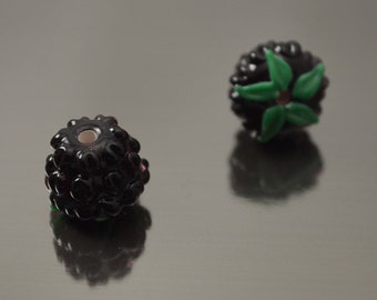 Berry beads, handmade lampwork beads, black