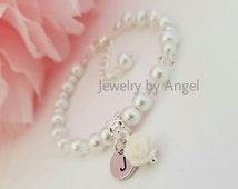 Flower Girl Bracelet Rose Flower Pearl Hand Stamp Letter Charm Bracelet Wedding Jewelry Flower Girl Jewelry